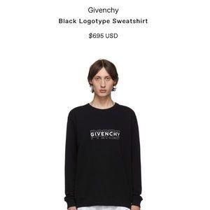 Givenchy Black Logo Crewneck Sweatshirt Size S
